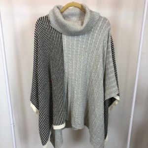 Two by Vince Camuto Cable and Waffle Stitch Poncho